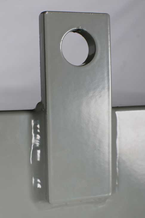 """two lifting lugs, fabricated from 3/8"""" x 1-1/2"""" stainless steel flat bar and welded to the top of the enclosure, are readily and permanently accessible"""