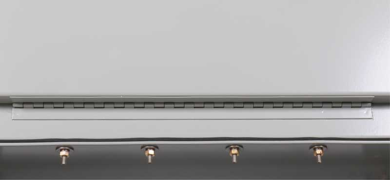 a full length piano style hinge, welded to the door and enclosure, provides structural and security integrity