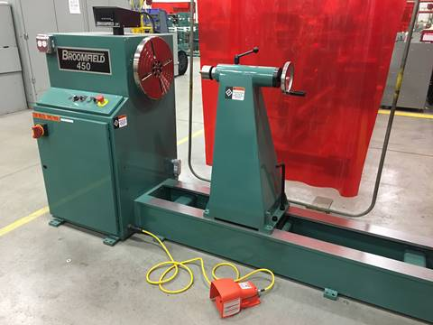 a broomfield 450 coil winding machine that olsun electrics uses for manufacturing their transformers