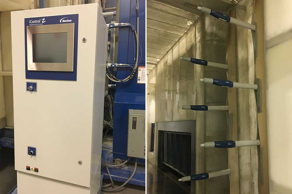 a nordson icontrol 2 system purchased by olsun electrics to powder coat transformer products and accessories that they manufacture